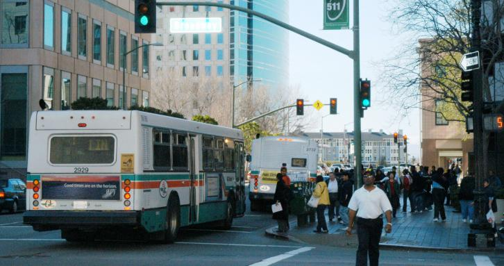 Workers and transit, downtown Oakland