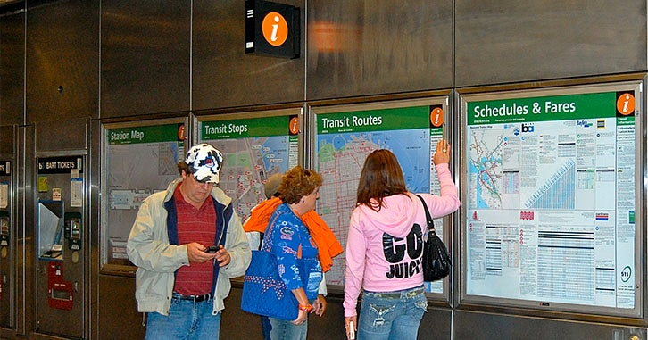 BART-Muni Station wayfinding signage, patrons