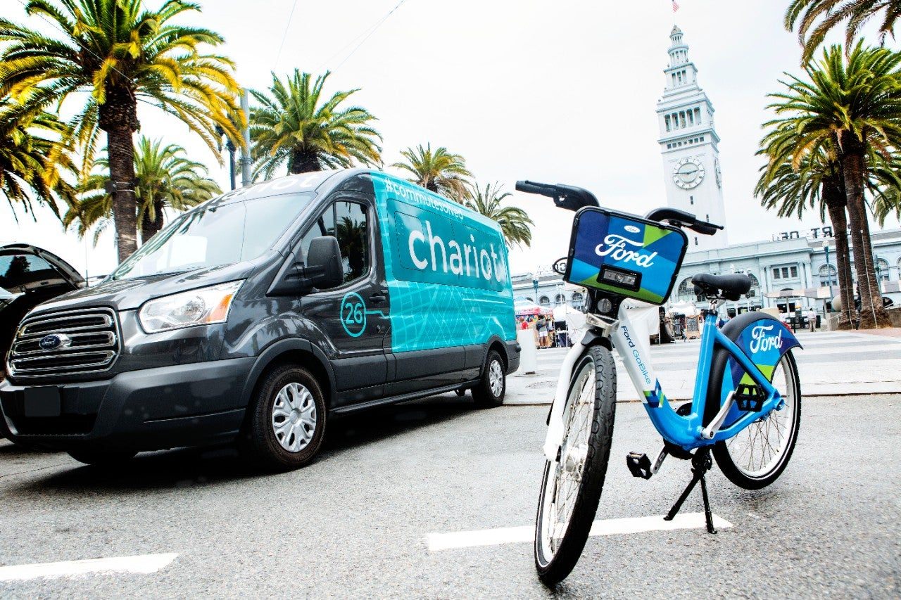 Photo showing both Chariot shuttle and Ford GoBike