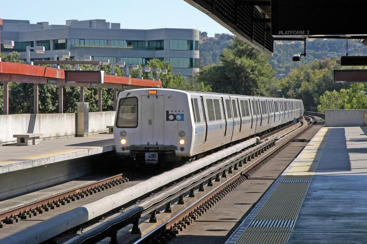BART train entering Pleasant Hill Station
