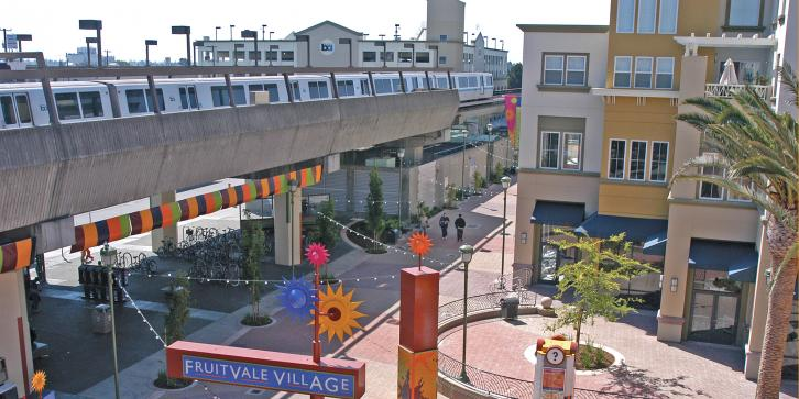 Transit Village with BART train