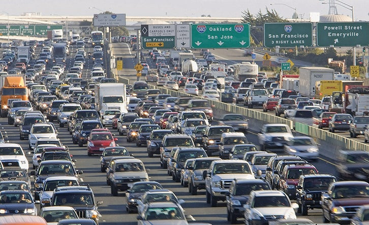 Bumper to bumper freeway traffic, Interstate 80