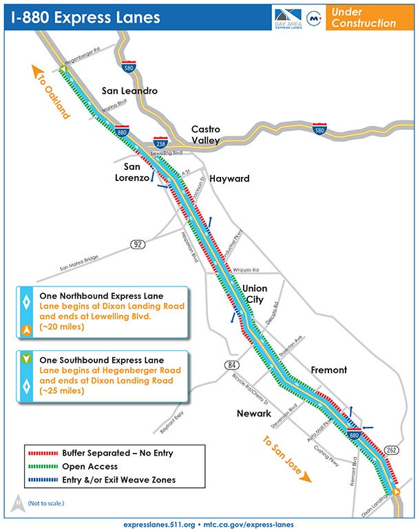 Map of express lanes