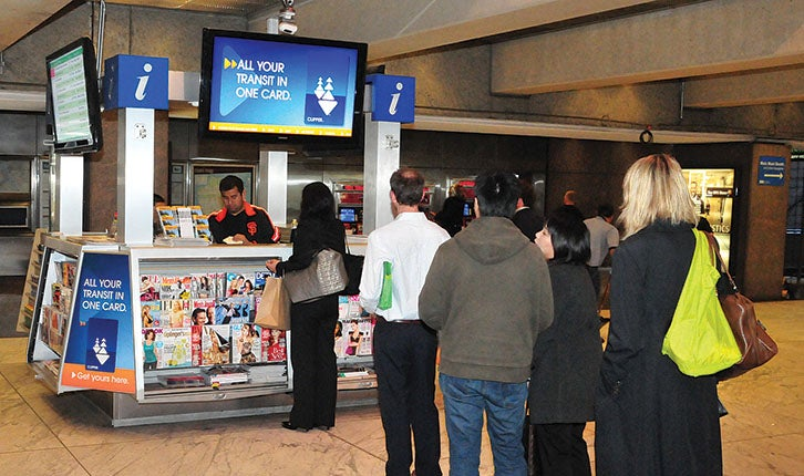 Embarcadero BART In-Transit Kiosk, Clipper, Commuters line-up