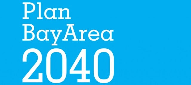 Plan Bay Area 2040 logo with aqua background and white text
