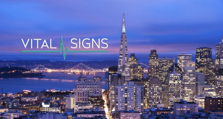 Vital Signs logo with San Francisco and Bay Bridge background