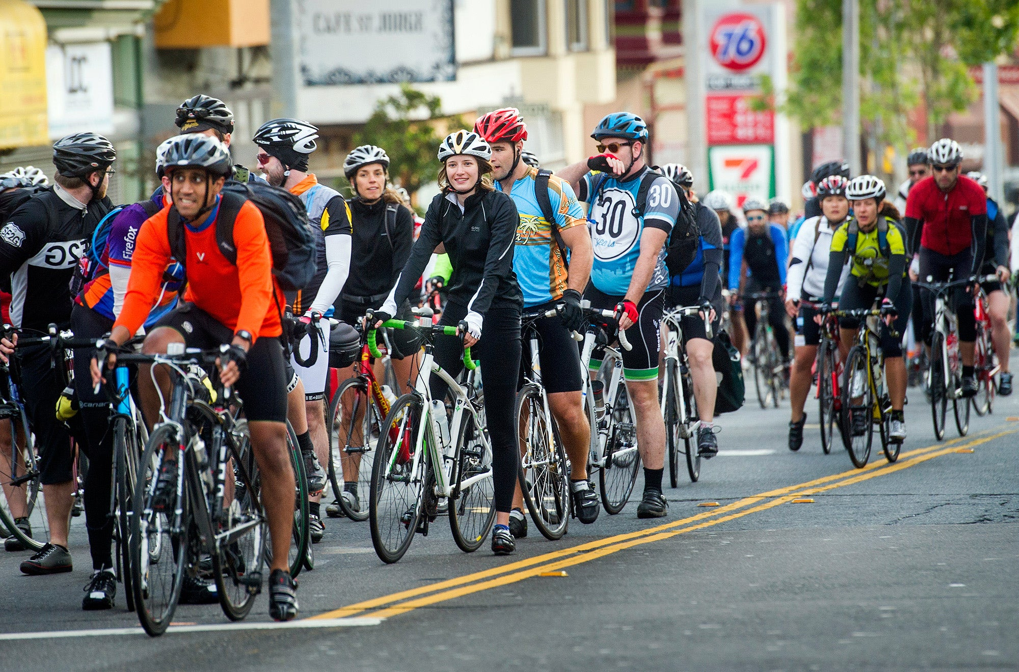 Cyclists take to the streets of San Francisco on Bike to Work Day 2014.