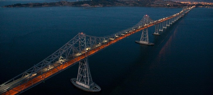 Richmond-San Rafael Bridge aerial night photo