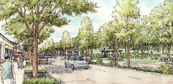 Rendering of Mission Blvd. Tree-lined roadway with pedestrian walkways.