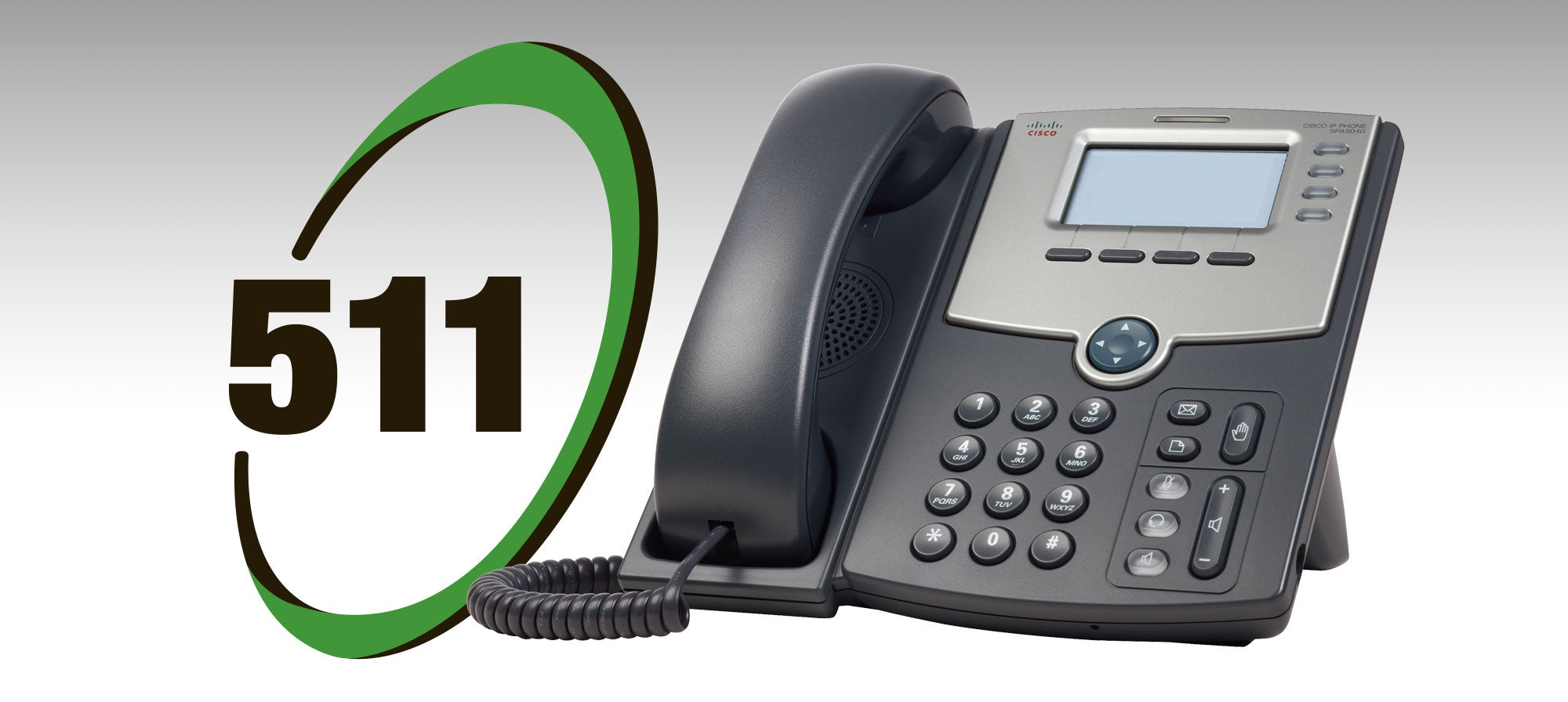 A photo of the 511 logo and a business telephone.