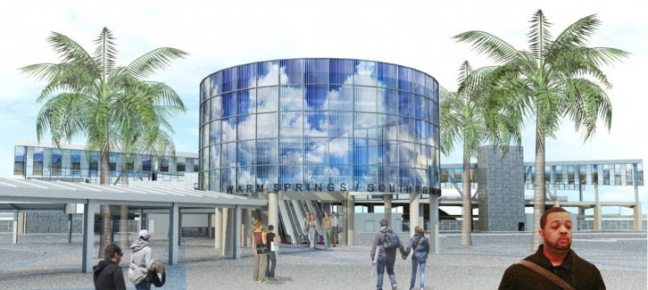rendering of the BART Warm Springs/South Fremont Station entry rotunda