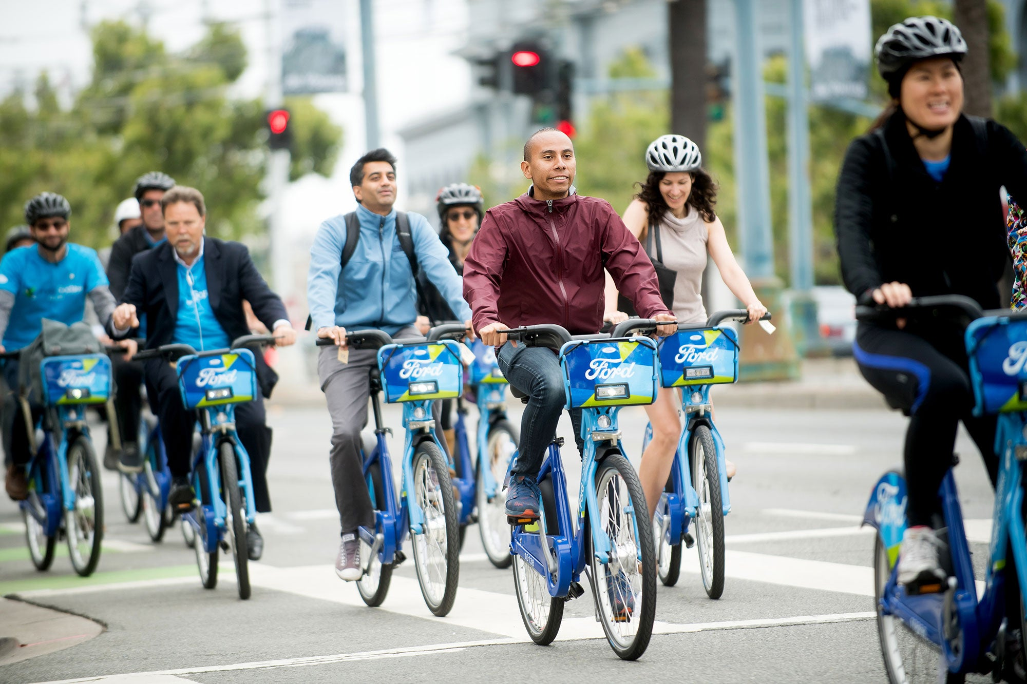 A group of riders on Ford GoBike
