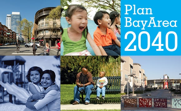 A montage of different Bay Area scenes with the Plan Bay Area 2040 logo.