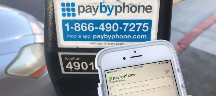 Paying for a parking meter with the Pay By Phone app