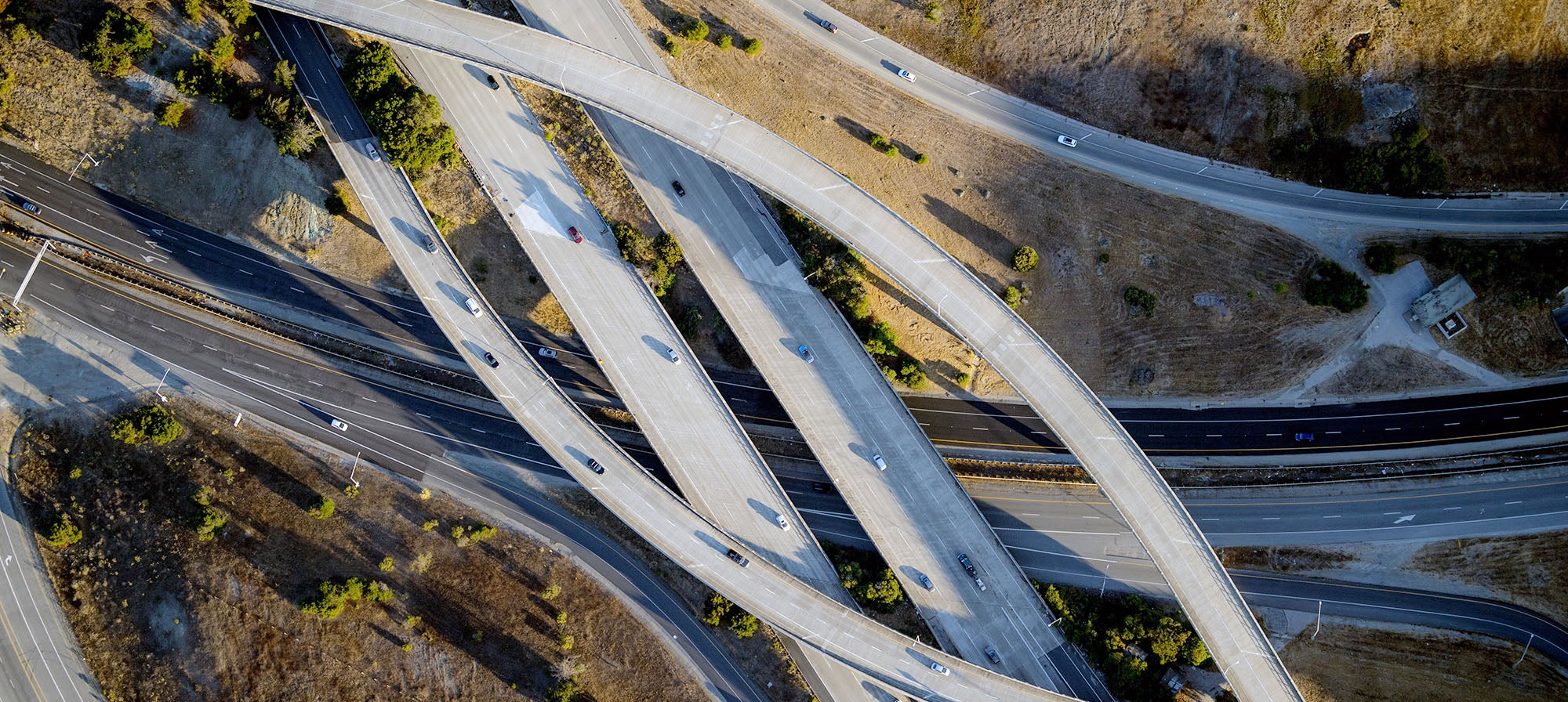 Aerial photo of highways in San Mateo County