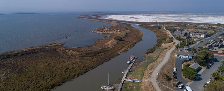 Aerial photo of Alviso Slough River
