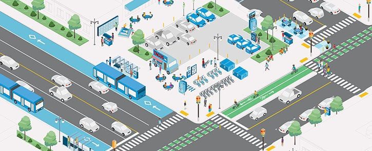 Mobility Hub, with various transportation and community-gathering features and services, including bike share, car share, public transportation and shopping. Illustration.