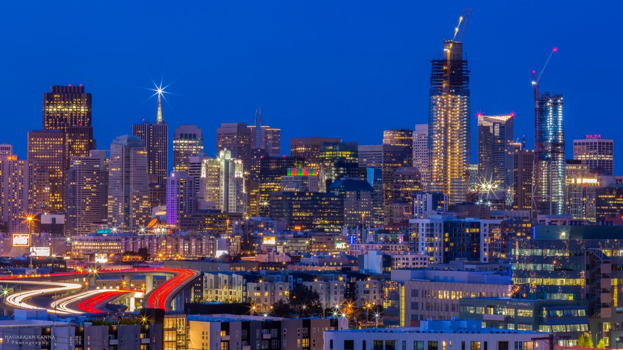 San Francisco skyline at night, as viewed from Potrero Hill