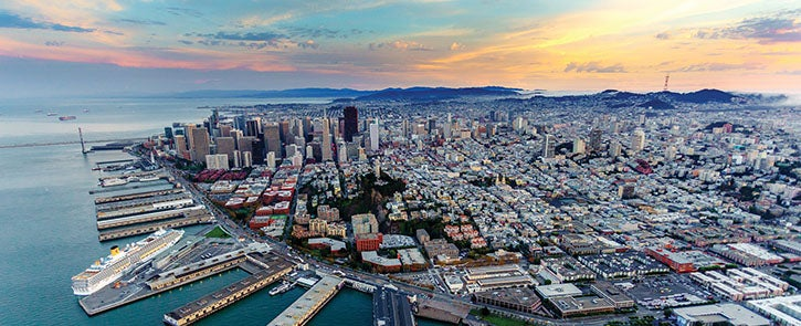 Aerial cityscape view of San Francisco