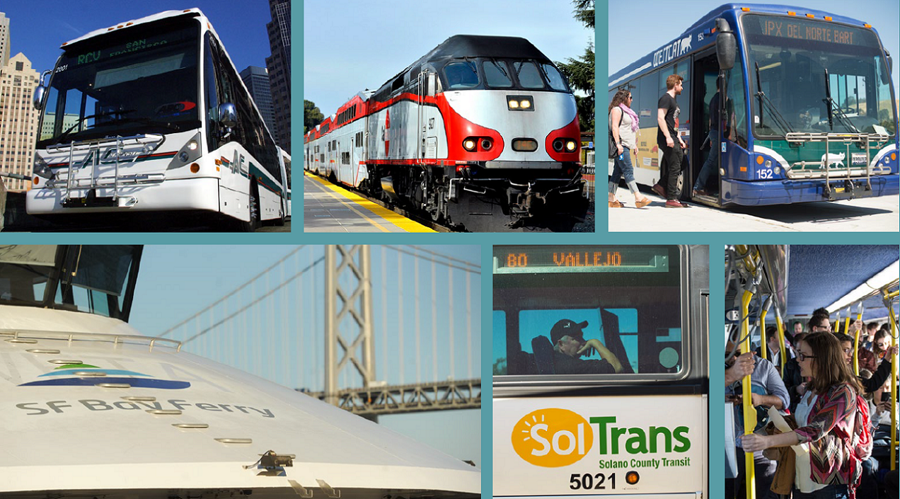 a collage of different Bay Area transit vehicles, including a ferry, a SolTrans bus and Caltrain train
