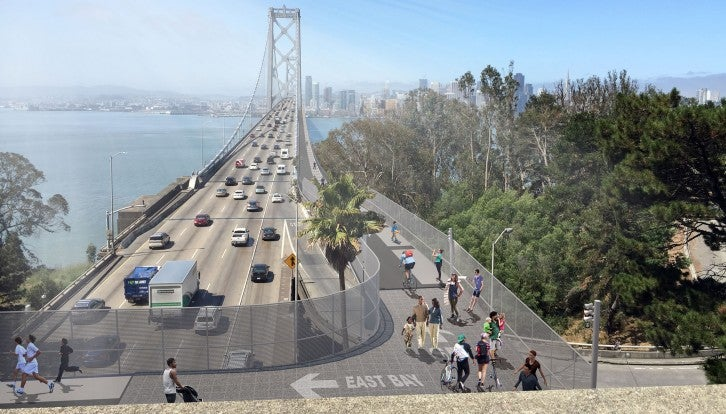 MTC is studying the feasibility of adding bicycle and pedestrian access on the West Span of the Bay Bridge, and closing a critical gap in the Transbay and Bay Trail corridors between San Francisco and Oakland. (Rendering by Arup.)