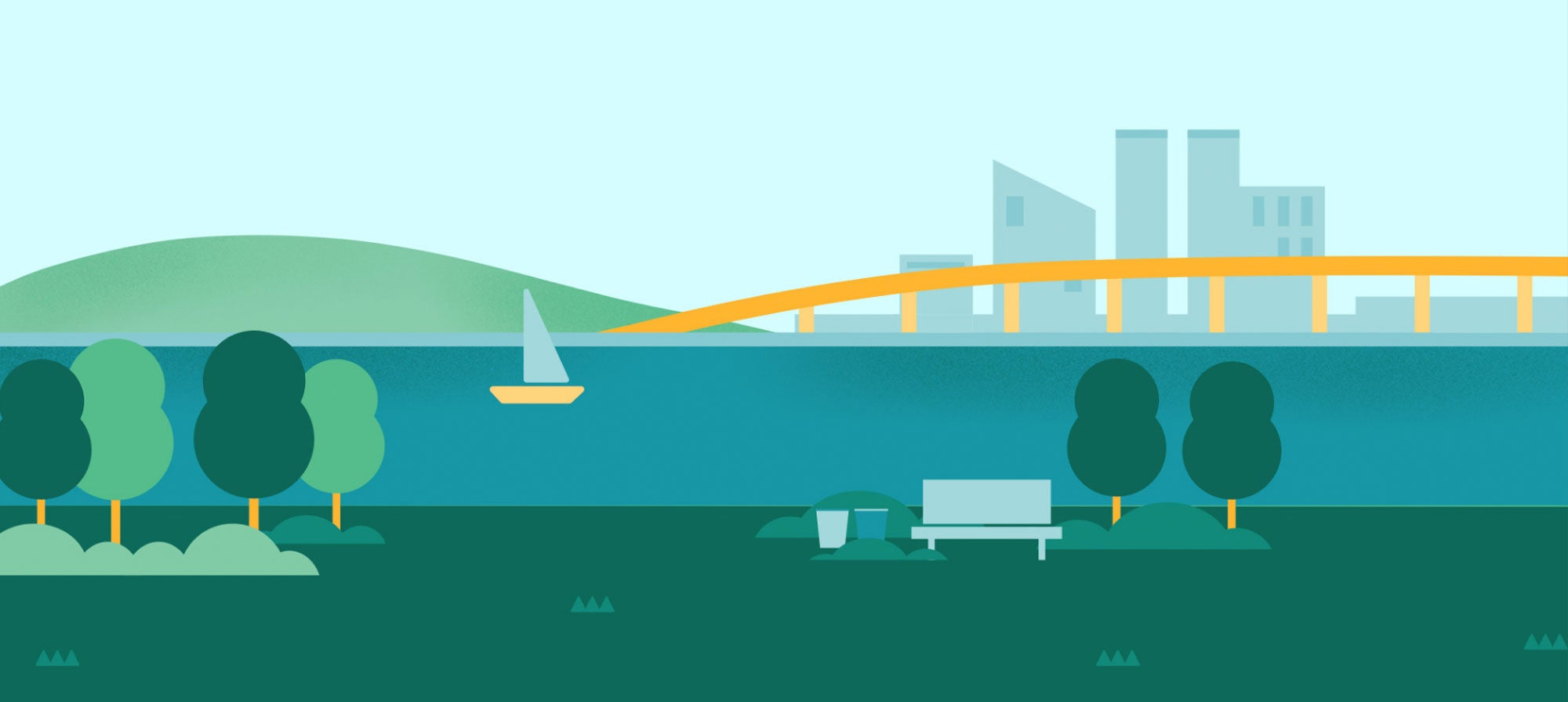 A bench with trees in the foregrwound while a sailboat, bridge and buildings are in the background of this illustration from the Mayor of Bayville game.