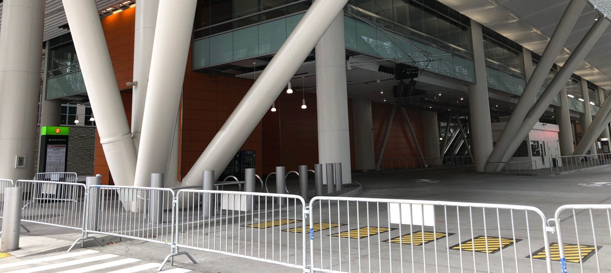 Temporary gates block entry to the Salesforce Transit Center, which has been closed since late September 2018.