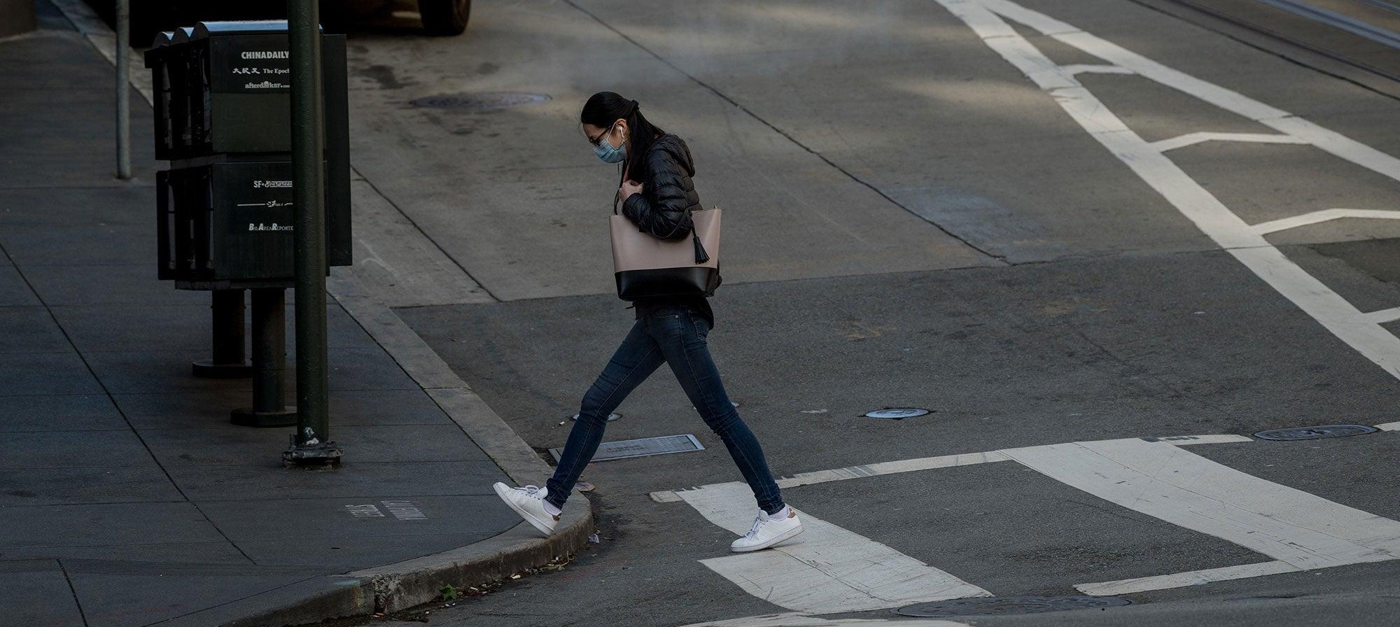 Masked pedestrian