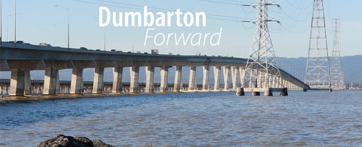 Low angle view of the Dumbarton Bridge with the Dumbarton Forward logo on top