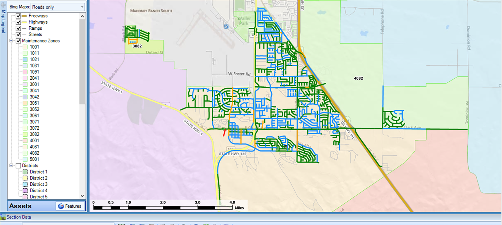 A map from the StreetSaver(R) tool
