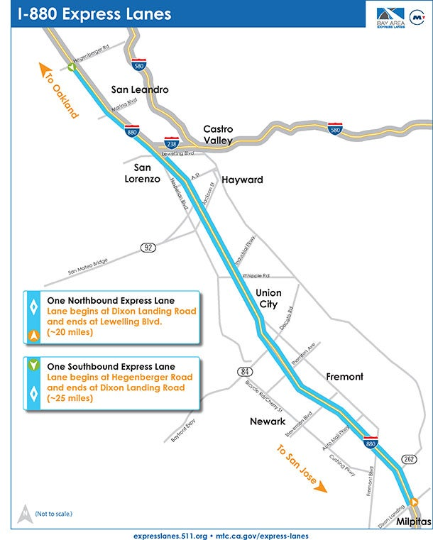 I-880 Express Lanes project map