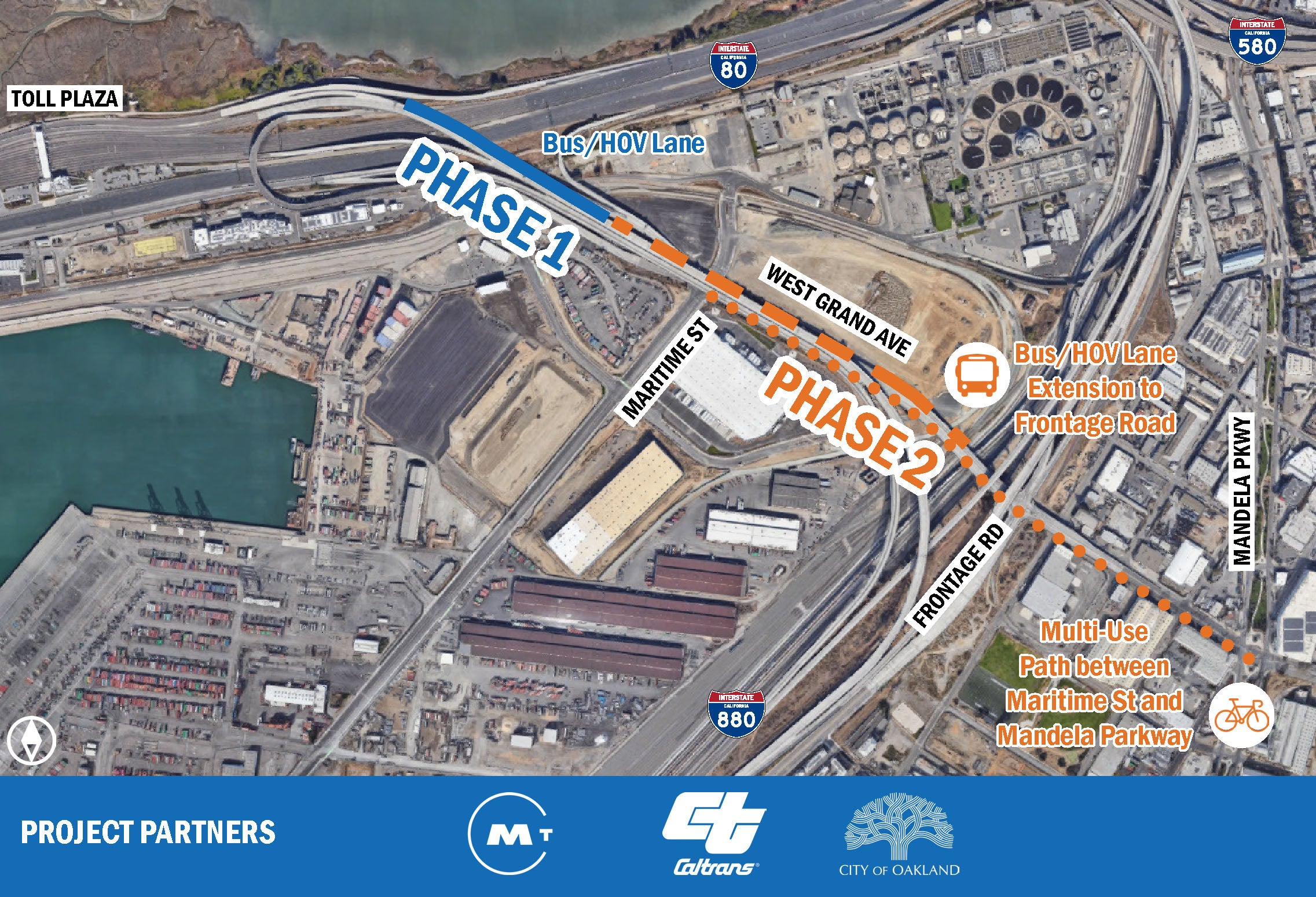 West Grand Ave. Bus/HOV Lane Extension project map