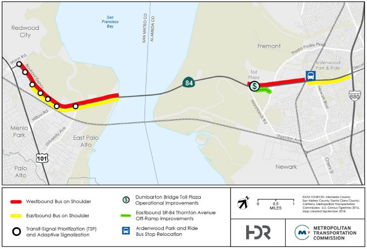 This map represents the proposed project elements along the Dumbarton Forward corridor