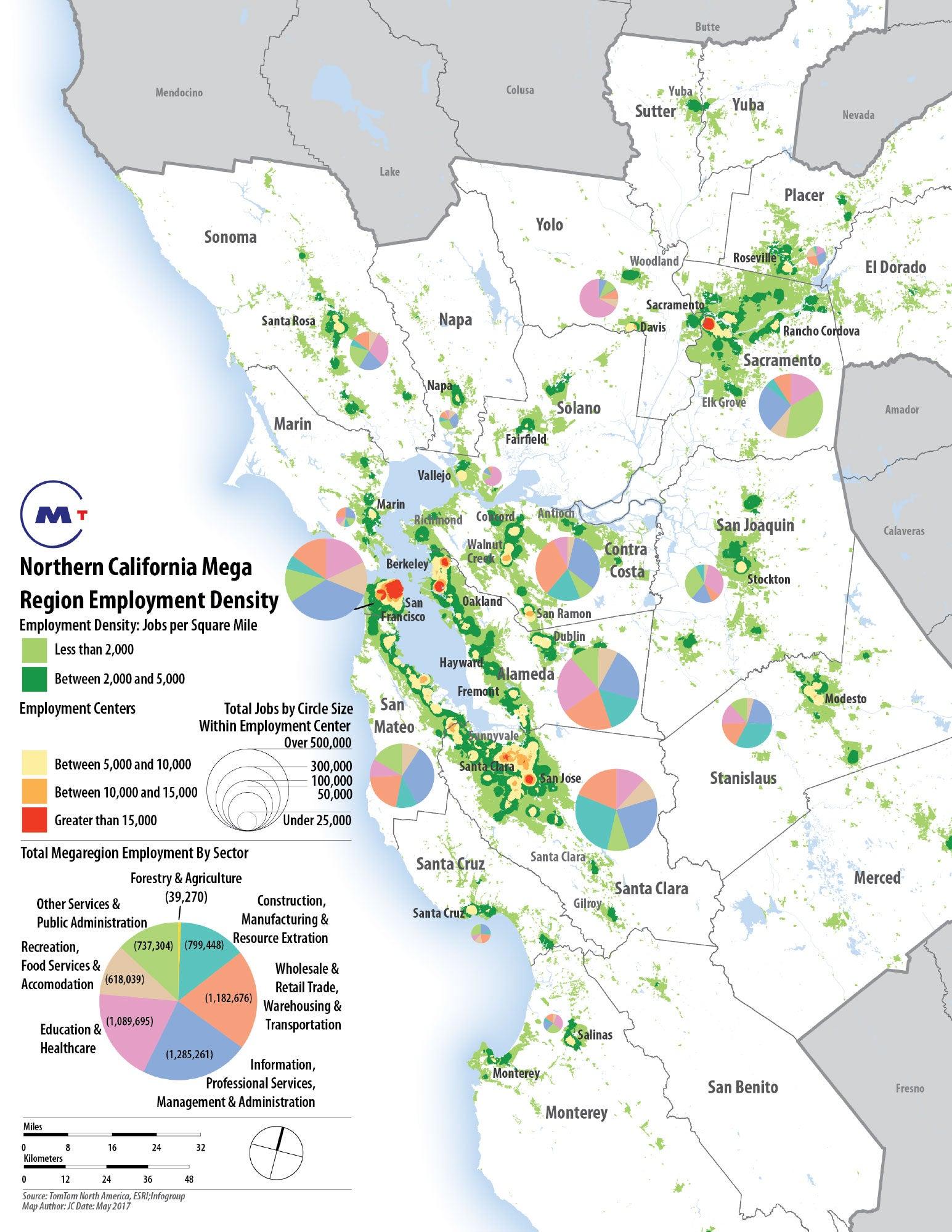 May 2017: Northern California Mega Region Employment Density