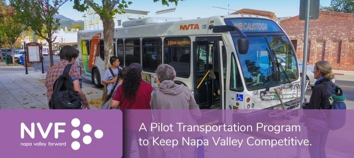 Commuters board an NVTA bus, with Napa Valley Forward logo overlaid on image