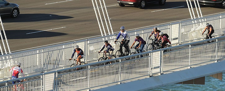 Cyclists on the San Francisco-Oakland Bay Bridge path