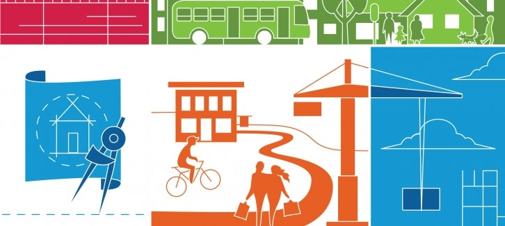 Multi-colored illustration of people walking, biking and working from the draft Plan Bay Area 2040 cover.