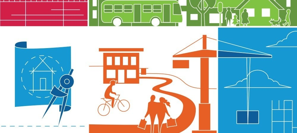 Illustrated cover image with people walking and bicycling and infrastructure, such as bridges and buses.