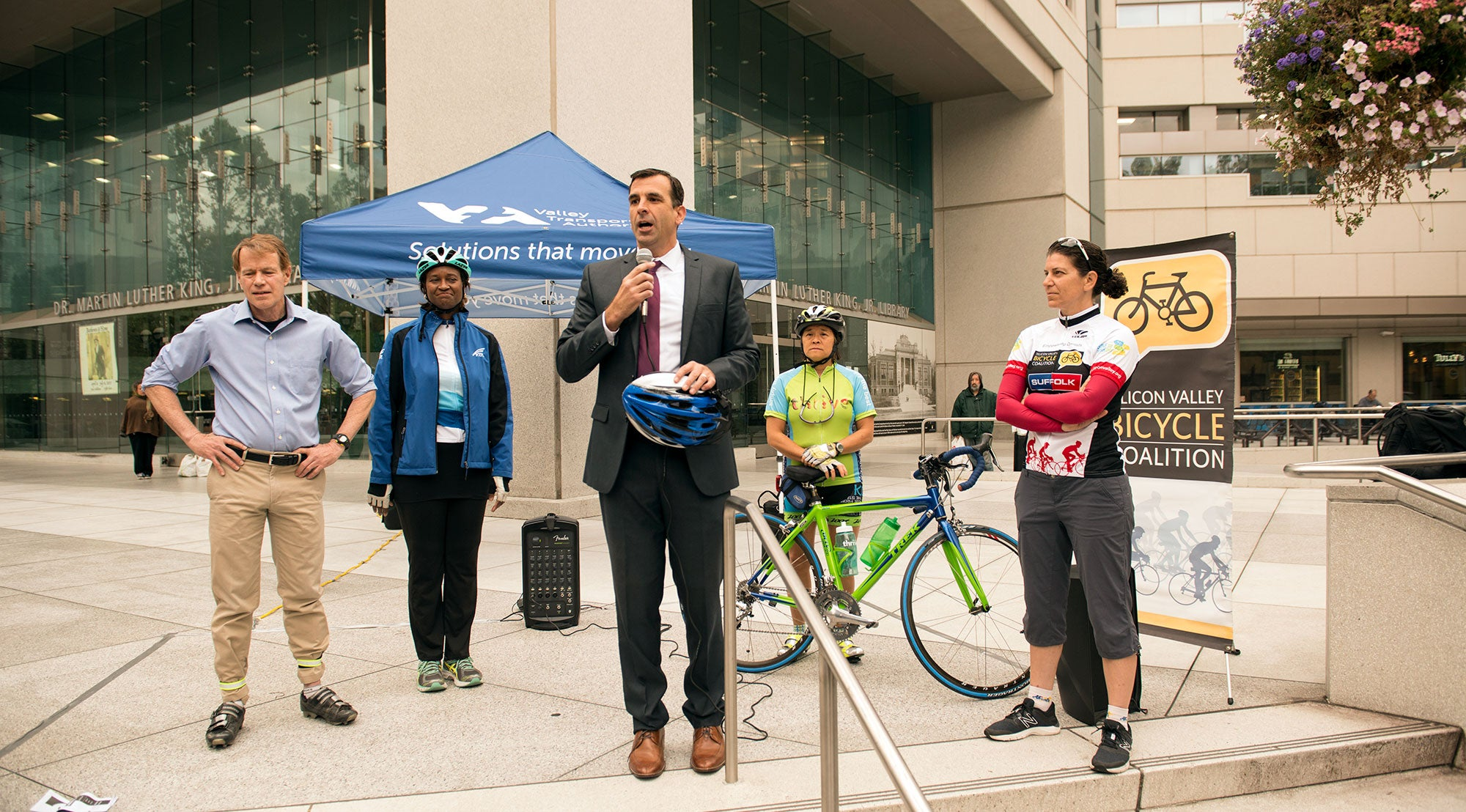 MTC Commissioner and San Jose Mayor Sam Liccardo headlines a Bike to Work Day press conference at the Dr. Martin Luther King, Jr., Library in downtown San Jose