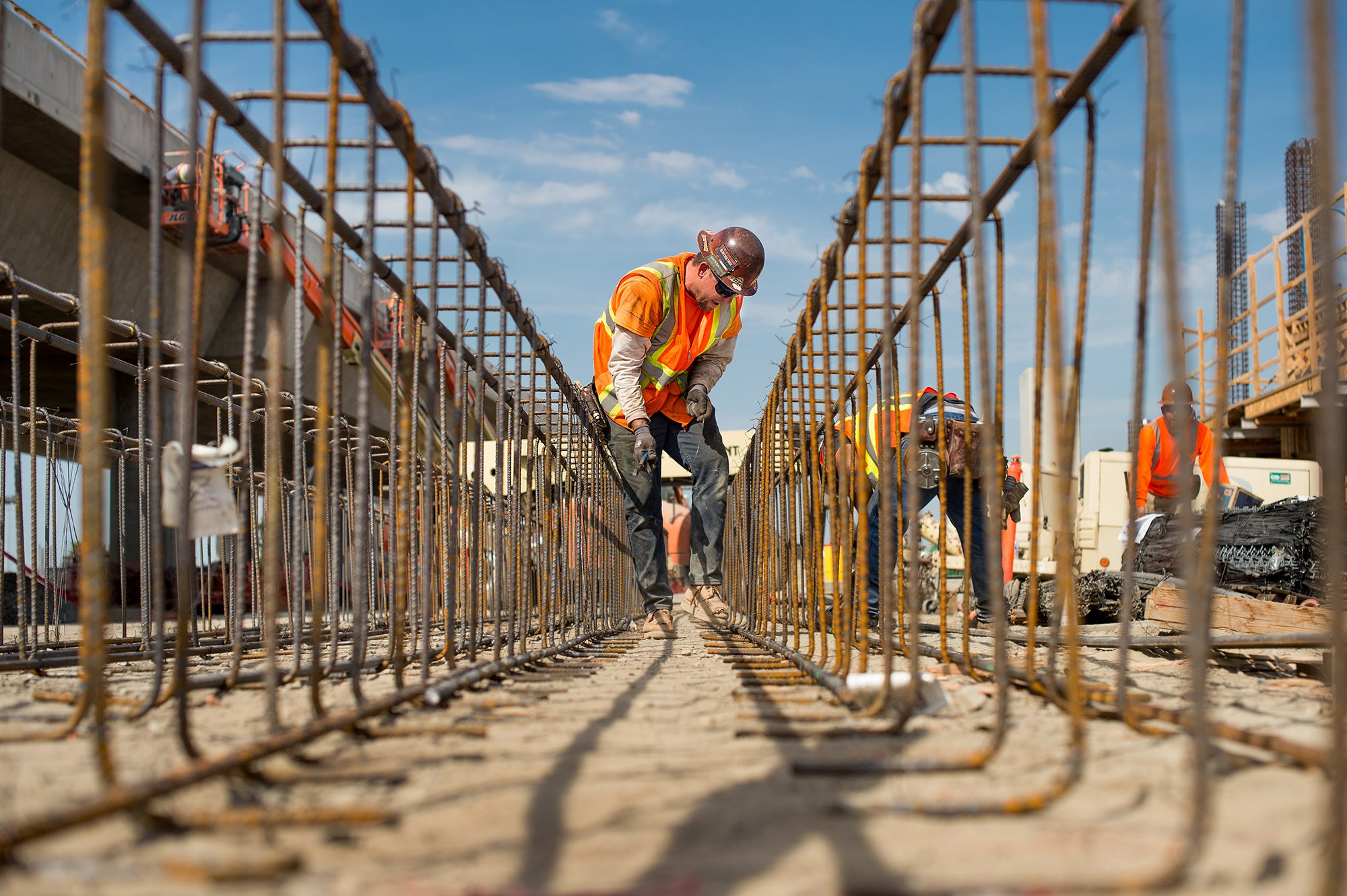 Berryessa BART Station: Worker Bret Fletcher reinforces rebar for parking structure.