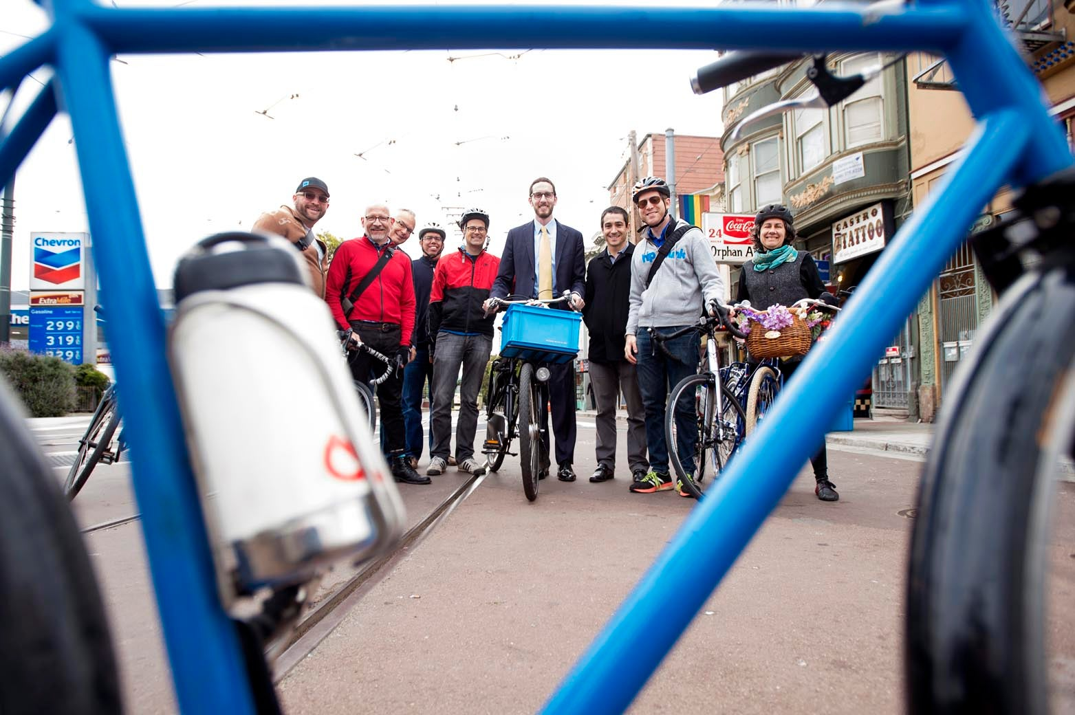 Commissioner Scott Wiener poses for the camera with a group of cyclists