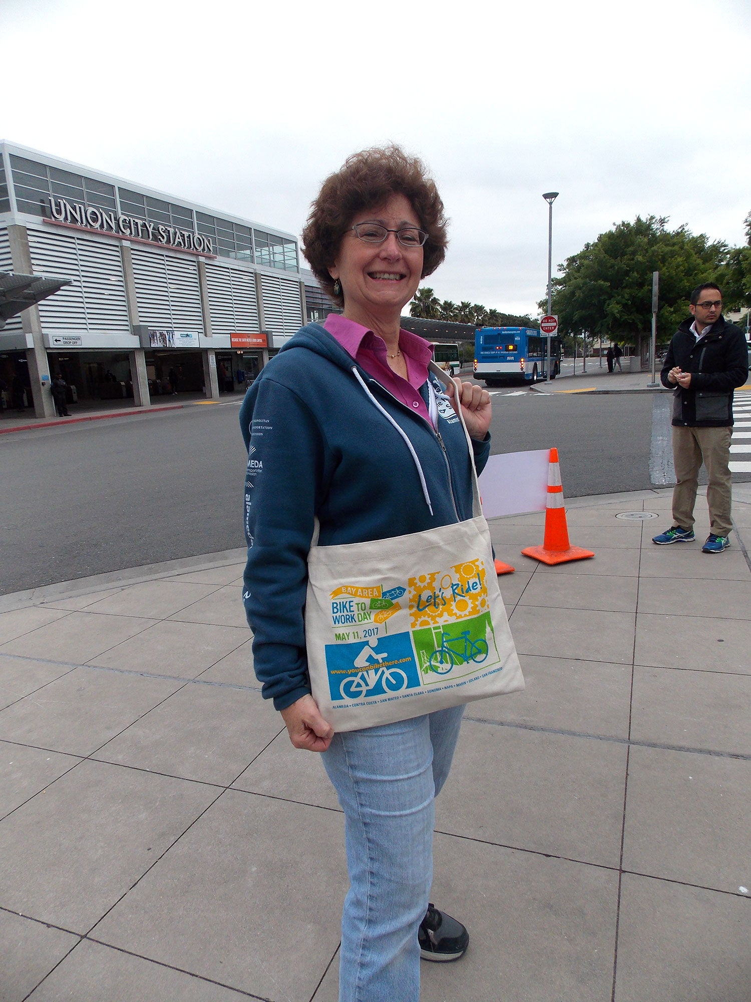 MTC Commissioner and Union City Mayor Carol Dutra-Vernaci greeted Bike to Work Day participants at the Energizer Station outside Union City's BART station