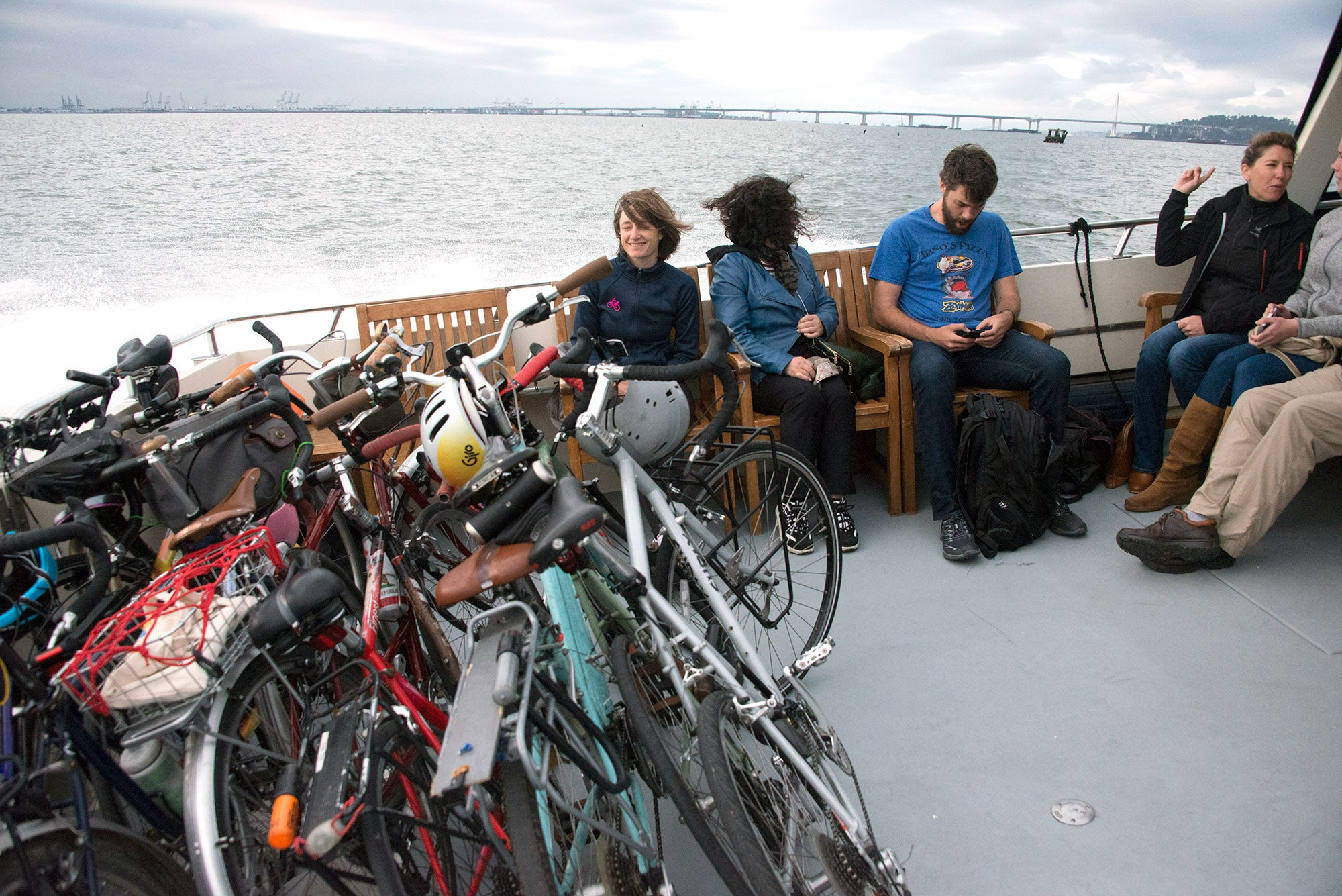 MTC's Manager of Government Relations Rebecca Long (at left), rides the Berkeley to San Francisco Tideline Ferry