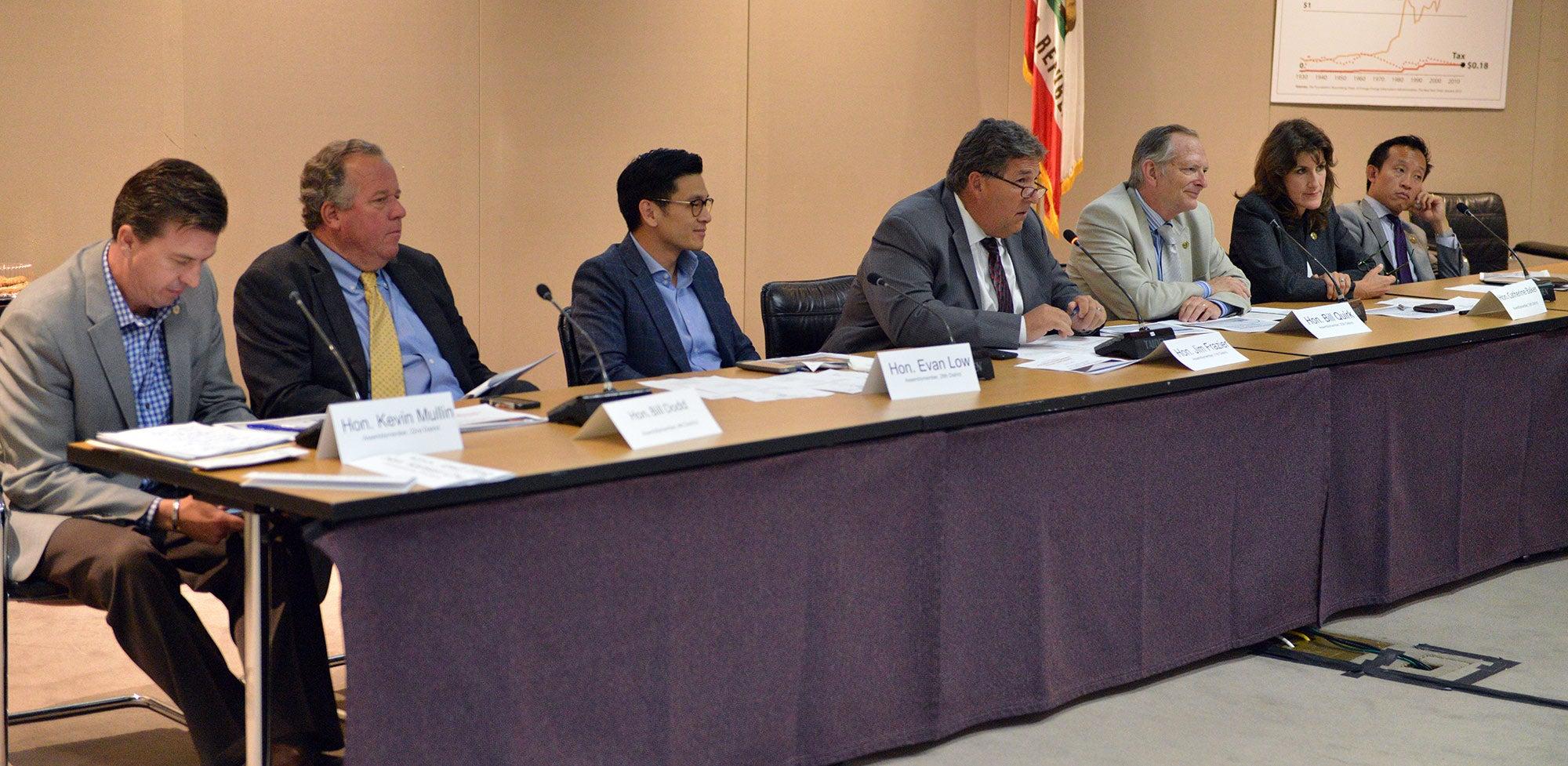 Panel of state legislators at informational hearing at 8/21/15 MTC meeting