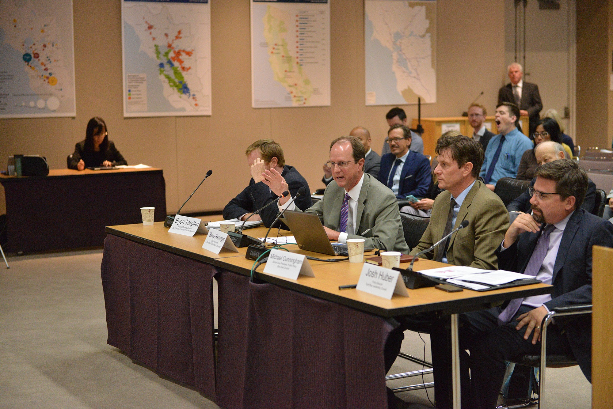Egon Terplan, Steve Heminger, Michael Cunningham and Josh Huber at the 8/21 hearing