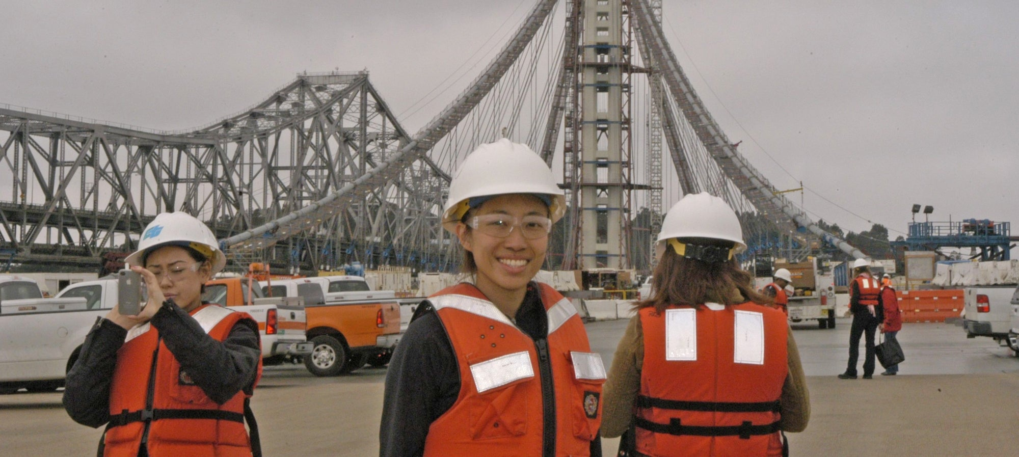 2012 summer interns on a tour of the Bay Bridge construction site
