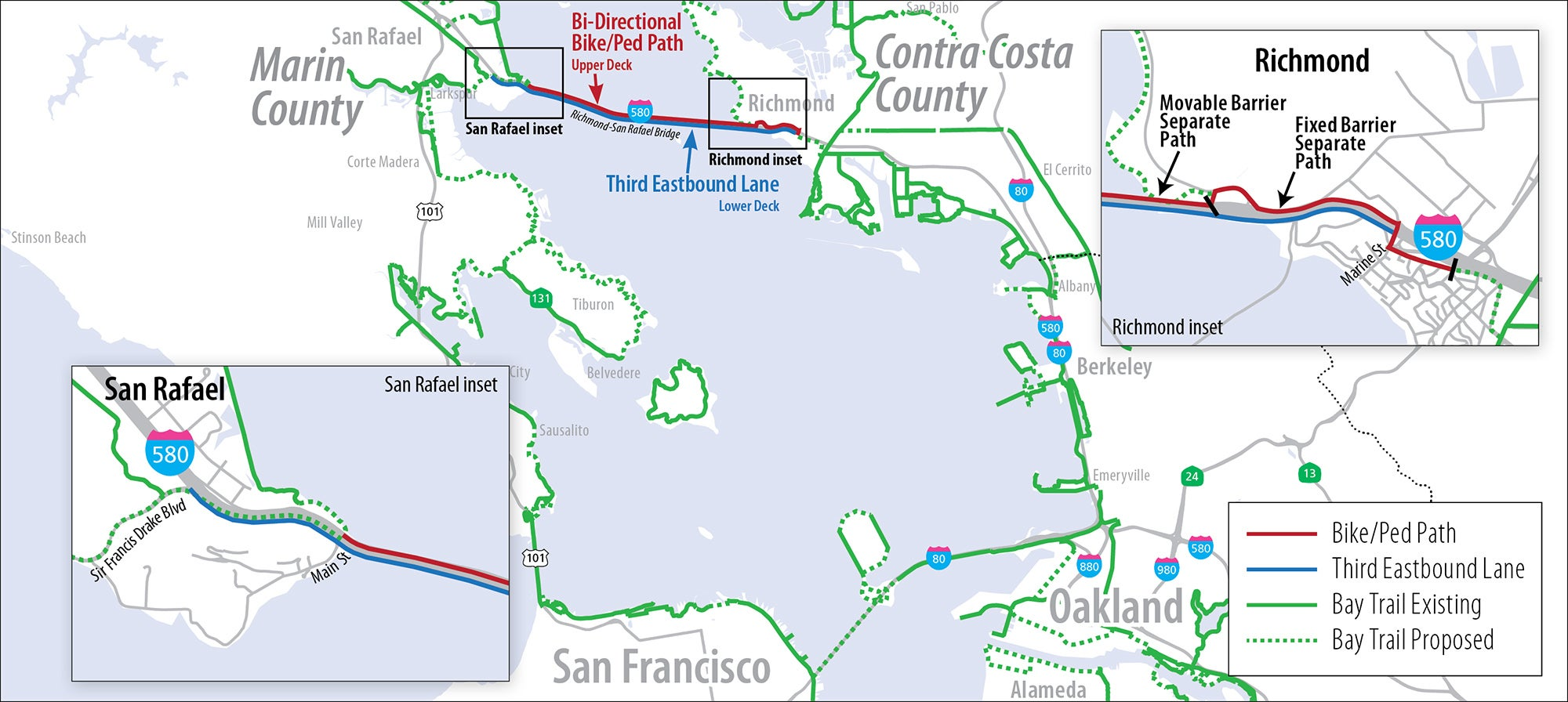 Map showing location and highlights of the proposed project.