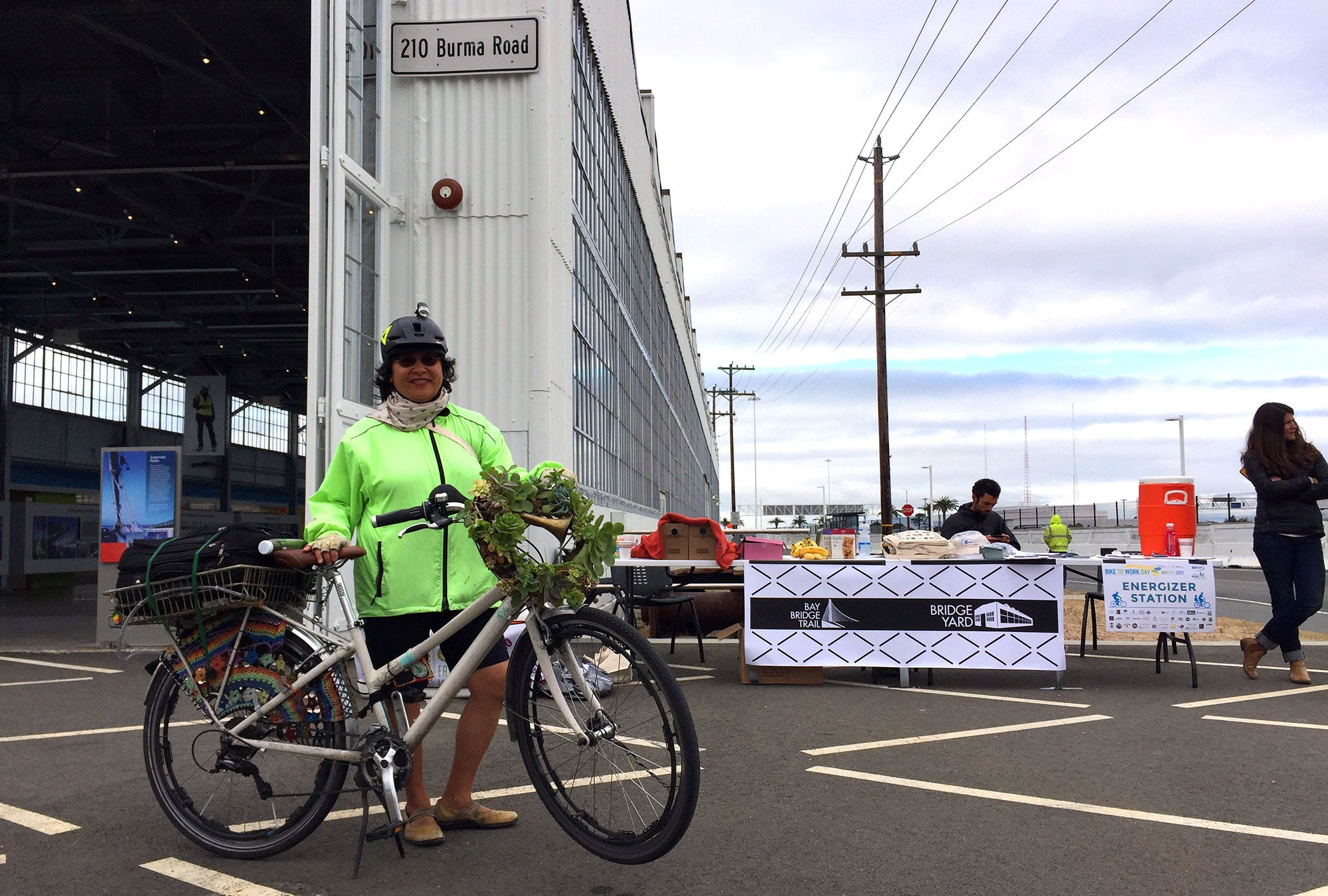 Alameda County's Bike Commuter of the Year from 2013, Janie Pinterits, at the Bridge Yard Energizer Station