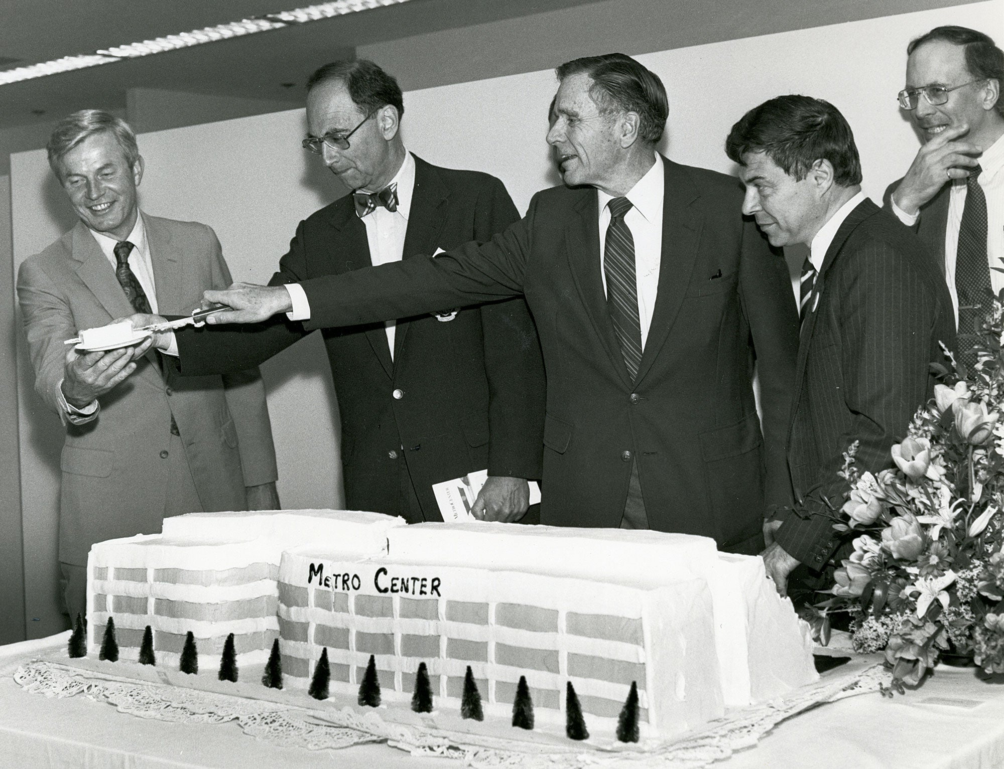 April 1984 MetroCenter opening celebration. Left to right: MTC Executive Director Lawrence D. Dahms, MTC Chair Quentin Kopp, ABAG President and MTC Commissioner Joseph P. Bort, ABAG Executive Director Revan Tranter and BART General Manager Keith Bernard.