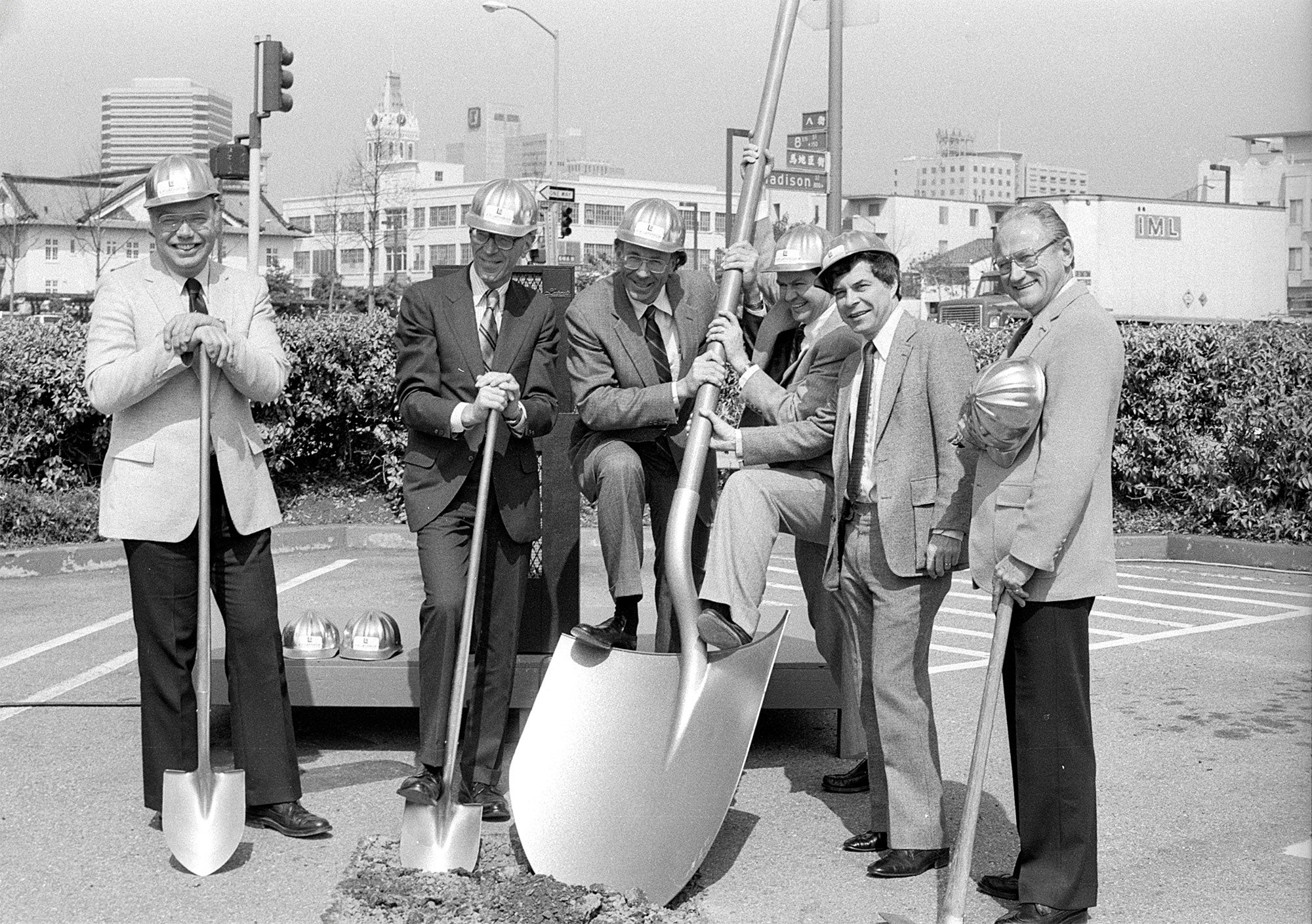 "1982 ceremony. L to R: Ralph C. Bolin, ABAG president; Eugene Garfinkle, BART Board president; Keith Bernard, BART general manager; William F. Hein, MTC deputy executive director; Revan Tranter, ABAG executive director; and W.R. ""Bill"" Lucius, MTC chair."